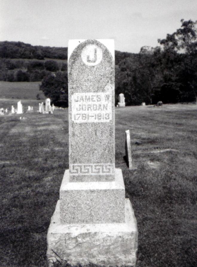 The tombstone of Captain Robert Jordan's son, James--(http://www.pcgenweb.com/pcgs/cemeteries/jordan-buffalo/jordan_james_w.jpg)